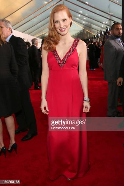 Actress Jessica Chastain attends the 18th Annual Critics' Choice Movie Awards held at Barker Hangar on January 10 2013 in Santa Monica California