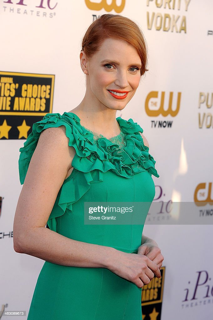 Actress Jessica Chastain attends the 19th Annual Critics' Choice Movie Awards at Barker Hangar on January 16, 2014 in Santa Monica, California.