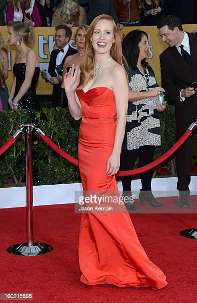 Actress Jessica Chastain attends the 19th Annual Screen Actors Guild Awards at The Shrine Auditorium on January 27 2013 in Los Angeles California