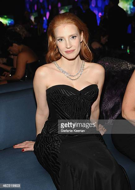 Actress Jessica Chastain attends the 2014 InStyle And Warner Bros. 71st Annual Golden Globe Awards Post-Party at The Beverly Hilton Hotel on January...