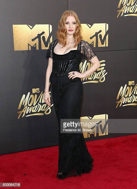 Actress Jessica Chastain attends the 2016 MTV Movie Awards at Warner Bros Studios on April 9 2016 in Burbank California MTV Movie Awards airs April...