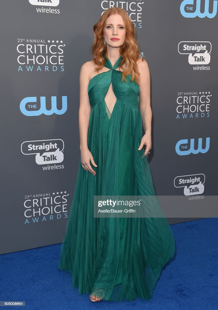 Actress Jessica Chastain attends the 23rd Annual Critics' Choice Awards at Barker Hangar on January 11, 2018 in Santa Monica, California.