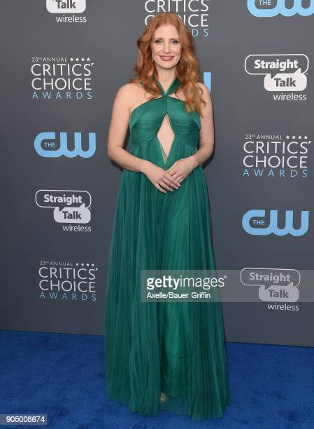 Actress Jessica Chastain attends the 23rd Annual Critics' Choice Awards at Barker Hangar on January 11 2018 in Santa Monica California