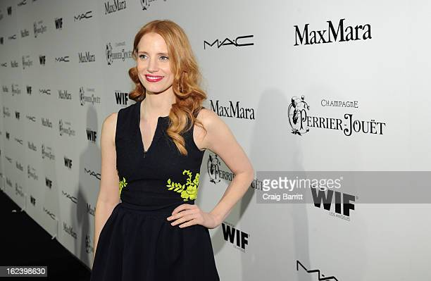 Actress Jessica Chastain attends the 6th Annual Women In Film PreOscar Party hosted by Perrier Jouet MAC Cosmetics and MaxMara at Fig Olive on...