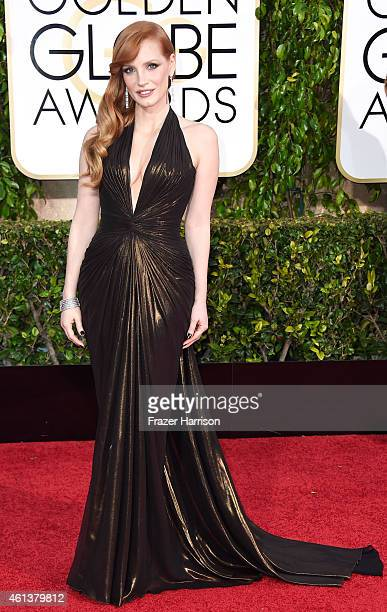 Actress Jessica Chastain attends the 72nd Annual Golden Globe Awards at The Beverly Hilton Hotel on January 11 2015 in Beverly Hills California