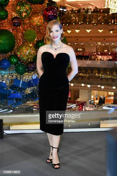 Actress Jessica Chastain attends the christmas decorations inauguration at Galeries Lafayette on November 7 2018 in Paris France