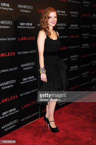 Actress Jessica Chastain attends The Cinema Society Manifesto Yves Saint Laurent screening of The Weinstein Company's Lawless at The Paley Center for...