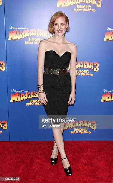 Actress Jessica Chastain attends the 'Madagascar 3 Europe's Most Wanted' premiere at the Ziegfeld Theater on June 7 2012 in New York City