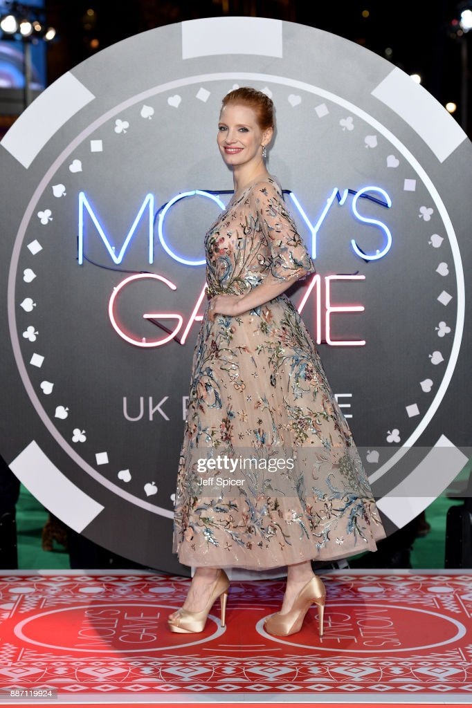 Actress Jessica Chastain attends the 'Molly's Game' UK premiere held at Vue West End on December 6, 2017 in London, England.