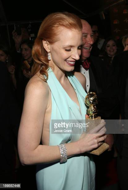 Actress Jessica Chastain attends the NBCUniversal Golden Globes viewing and after party held at The Beverly Hilton Hotel on January 13 2013 in...