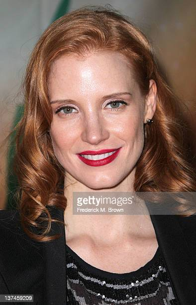 Actress Jessica Chastain attends the Opening Night Of Cirque du Soleil's 'OVO' at the Santa Monica Pier on January 20 2012 in Santa Monica California