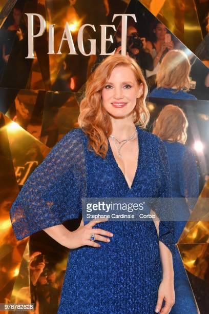 Actress Jessica Chastain attends the Piaget Sunlight Escape Paris 2018 High Jewellery Collection Party at Palais d'Iena on June 18 2018 in Paris...