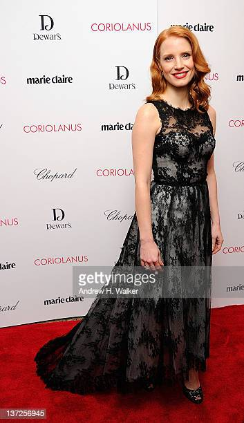 Actress Jessica Chastain attends the premiere of Coriolanus at Paris Theater on January 17 2012 in New York City