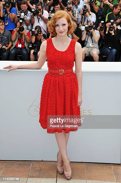 Actress Jessica Chastain attends 'The Tree Of Life' photocall during the 64th Annual Cannes Film Festival at Palais des Festivals on May 16 2011 in...