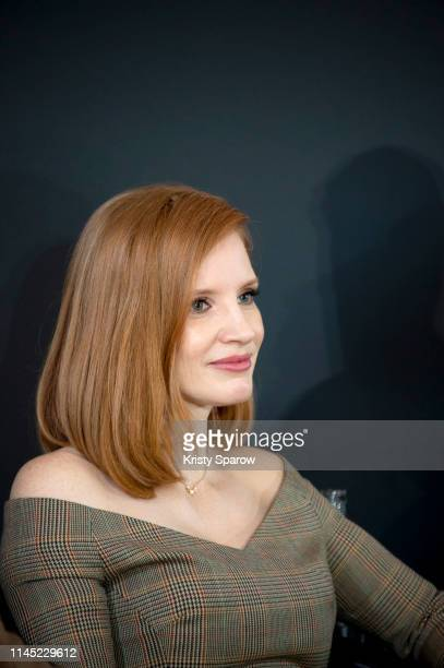"""Actress Jessica Chastain attends the """"X-Men Dark Phoenix"""" Press Conference At Cafe De L'Homme on April 26, 2019 in Paris, France."""
