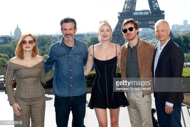 """Actress Jessica Chastain, director Simon Kinberg, actors Sophie Turner, Michael Fassbender and producer Hutch Parker attend the """"X-Men Dark Phoenix""""..."""