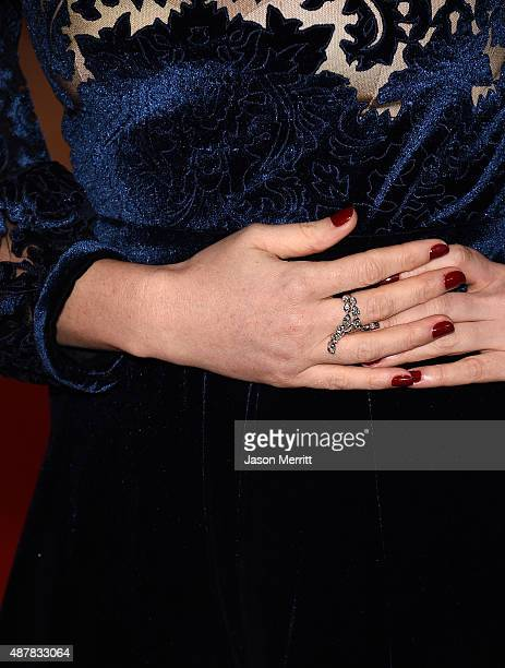 Actress Jessica Chastain fashion detail attends The Martian premiere during the 2015 Toronto International Film Festival at Roy Thomson Hall on...