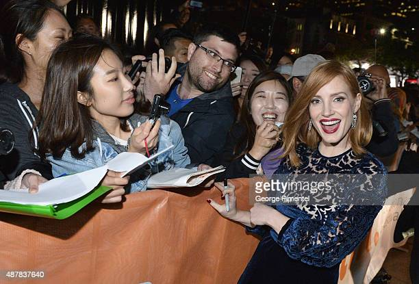 Actress Jessica Chastain greets fans at The Martian press conference during the 2015 Toronto International Film Festival at TIFF Bell Lightbox on...