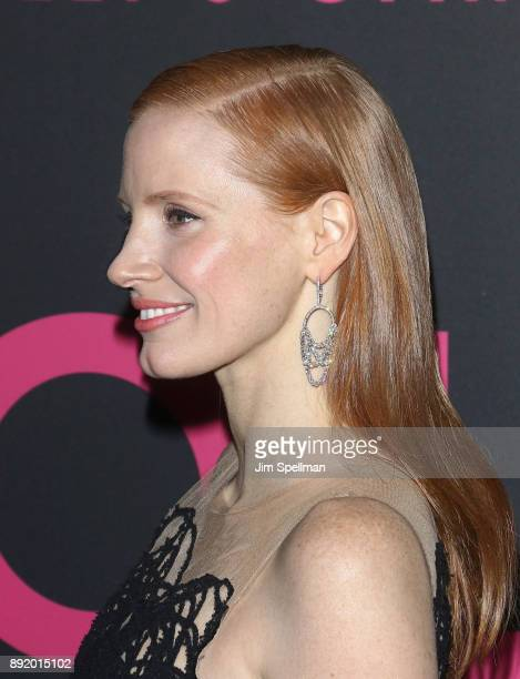 Actress Jessica Chastain hair detail attends the 'Molly's Game' New York premiere at AMC Loews Lincoln Square on December 13 2017 in New York City