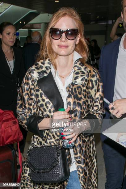 Actress Jessica Chastain is seen during the 71st annual Cannes Film Festival at Nice Airport on May 9 2018 in Nice France