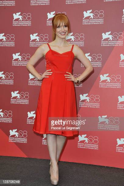 Actress Jessica Chastain poses at the Wild Salome photocall during the 68th Venice Film Festival at Palazzo del Cinema on September 4 2011 in Venice...