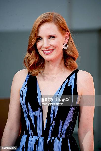 Actress Jessica Chastain poses for a photo during her Hand and Footprint Ceremony at TCL Chinese Theatre on November 3 2016 in Hollywood California