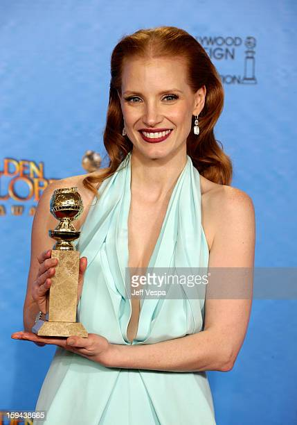 Actress Jessica Chastain poses in the press room at the 70th Annual Golden Globe Awards held at The Beverly Hilton Hotel on January 13 2013 in...