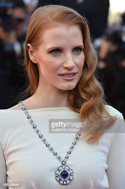 "Actress Jessica Chastain poses on May 21, 2013 as she arrives for the screening of the film ""Cleopatra"" presented in Cannes Classics at the 66th..."