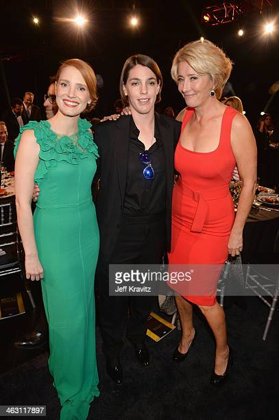 Actress Jessica Chastain producer Megan Ellison and actress Emma Thompson attend the 19th Annual Critics' Choice Movie Awards at Barker Hangar on...