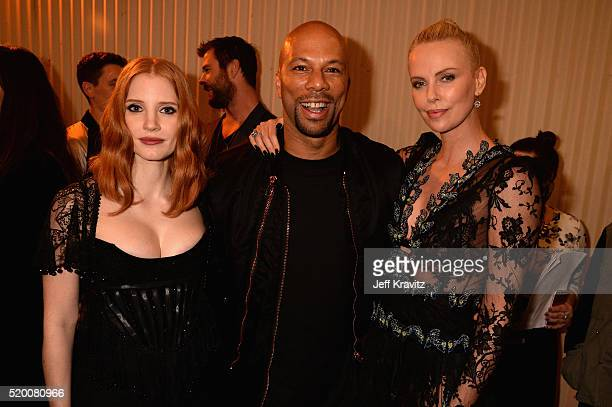 Actress Jessica Chastain, recording artist Common and Actress Charlize Theron attend the 2016 MTV Movie Awards at Warner Bros. Studios on April 9,...