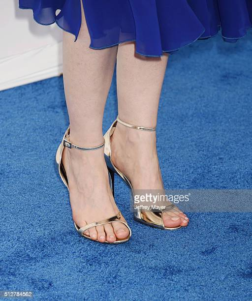 Actress Jessica Chastain, shoe detail, at the 2016 Film Independent Spirit Awards on February 27, 2016 in Santa Monica, California.