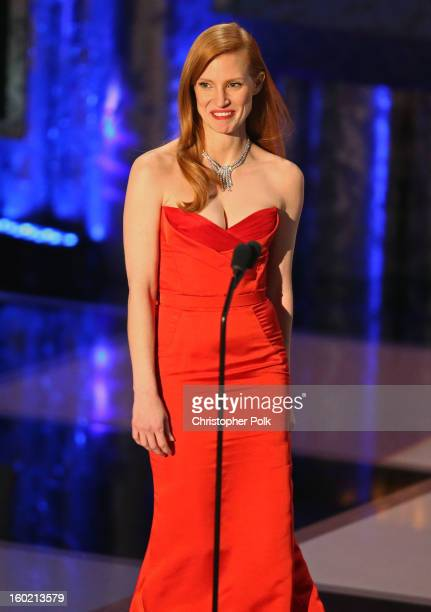 Actress Jessica Chastain speaks onstage during the 19th Annual Screen Actors Guild Awards at The Shrine Auditorium on January 27 2013 in Los Angeles...