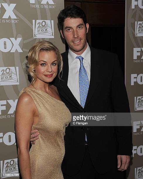 Actress Jessica Collins and Actor John Viener attends the 20th Century Fox and FX 2009 Emmy Party at Cicada on September 20, 2009 in Los Angeles,...