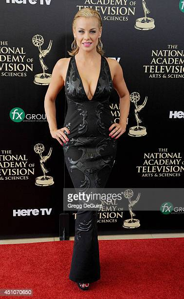 Actress Jessica Collins arrives at the 41st Annual Daytime Emmy Awards at The Beverly Hilton Hotel on June 22 2014 in Beverly Hills California