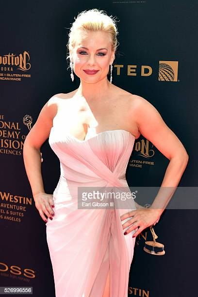 Actress Jessica Collins arrives at the 43rd Annual Daytime Emmy Awards at the Westin Bonaventure Hotel on May 1 2016 in Los Angeles California