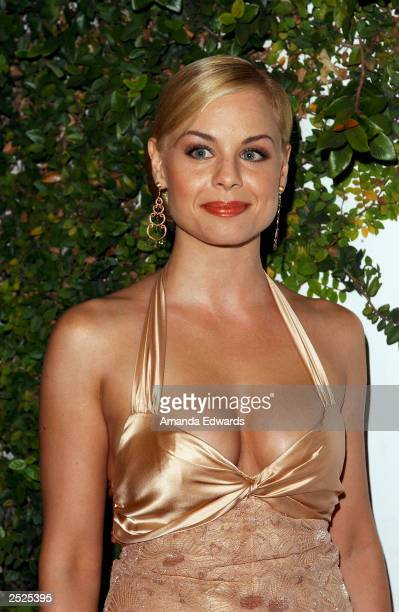 Actress Jessica Collins arrives at the Fox TV Emmy After Party at Mortons on September 21 2003 in West Hollywood California