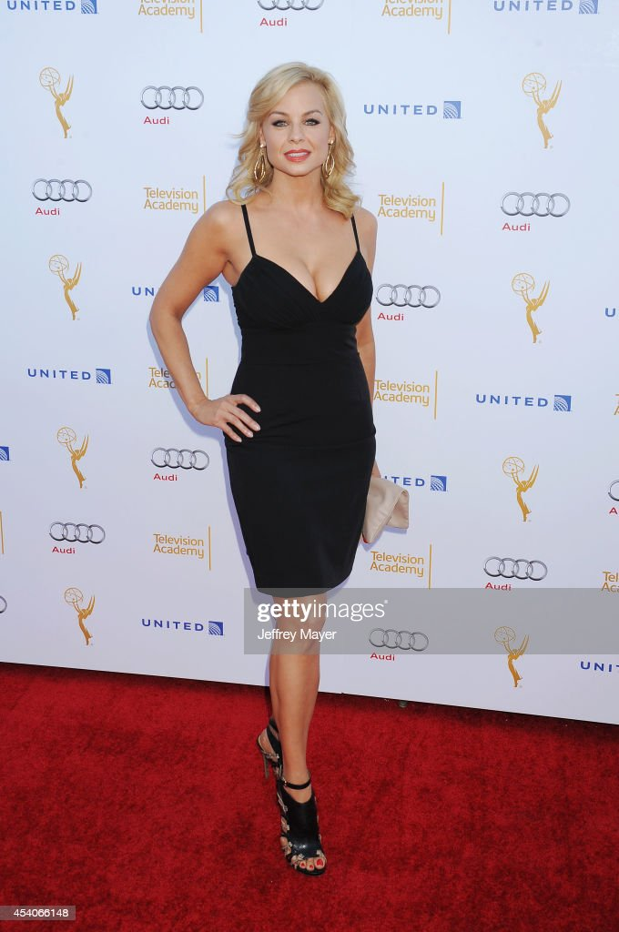 Actress Jessica Collins arrives at the Television Academy's 66th Emmy Awards Performance Nominee Reception at the Pacific Design Center on Saturday, Aug. 23, 2014, in West Hollywood, California.