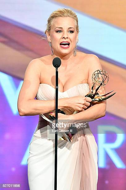 Actress Jessica Collins speaks onstage after receiving her Emmy for Best Supporting Actress at the 43rd Annual Daytime Emmy Awards at the Westin...