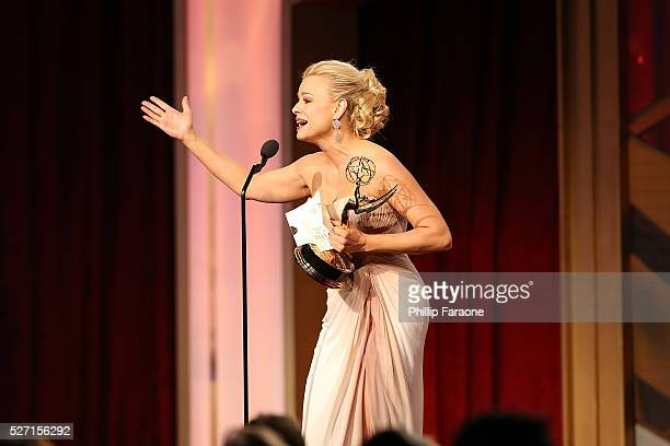Actress Jessica Collins speaks onstage after recieving the Emmy for Outstanding Supporting Actress at the 2016 Daytime Emmy Awards at Westin...
