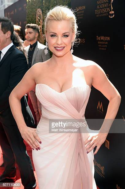 Actress Jessica Collins walks the red carpet at the 43rd Annual Daytime Emmy Awards at the Westin Bonaventure Hotel on May 1 2016 in Los Angeles...