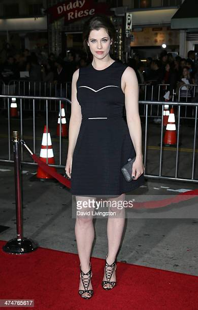 """Actress Jessica De Gouw attends the premiere of Universal Pictures and Studiocanal's """"Non-Stop"""" at the Regency Village Theatre on February 24, 2014..."""