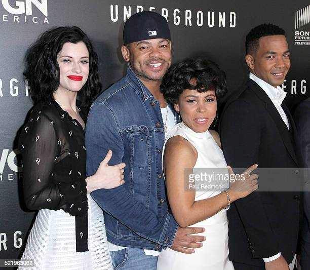Actress Jessica de Gouw director Anthony Hemingway actress Amirah Vann and actor Alano Miller arriving at WGN America Presents 'Underground' For Your...