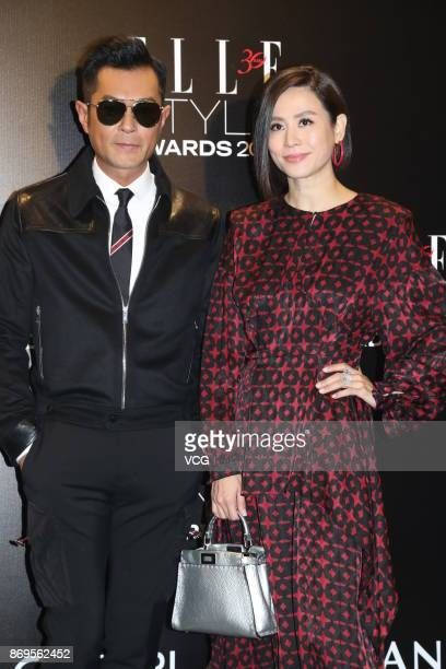 Actress Jessica Hester Hsuan and actor Louis Koo attend the 2017 ELLE Style Awards Ceremony on October 2 2017 in Hong Kong China