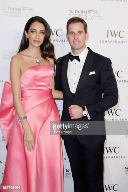 Actress Jessica Kahawaty and WC Schaffhausen CEO Christoph GraingerHerr attend the sixth IWC Filmmaker Award gala dinner at the 14th Dubai...