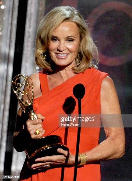 Actress Jessica Lange accepts Outstanding Supporting Actress in a Miniseries or a Movie award for 'American Horror Story' onstage during the 64th...