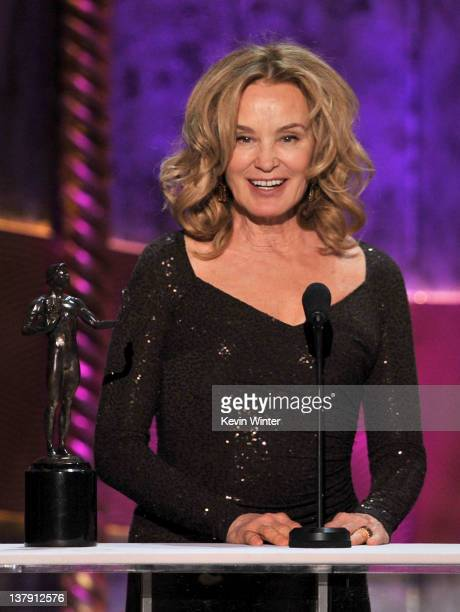 Actress Jessica Lange accepts the Outstanding Performance by a Female Actor in a Drama Series award for 'American Horror Story' onstage during the...