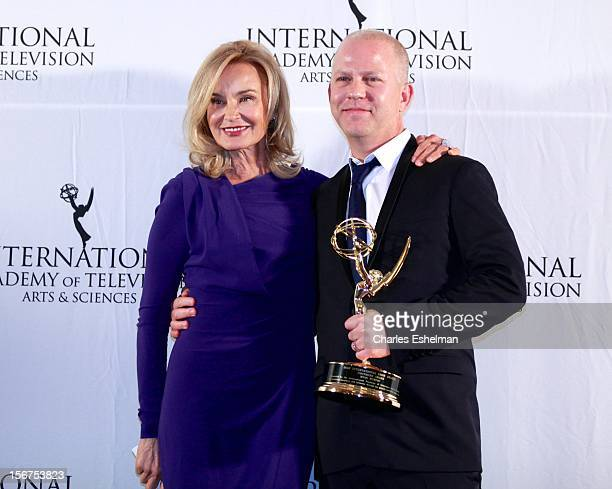 Actress Jessica Lange and Founder winner Ryan Murphy attend the 40th International Emmy Awards at Mercury Ballroom at the New York Hilton on November...