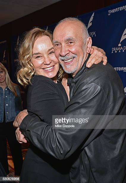 Actress Jessica Lange and Frank Langella embrace at 2016 Drama Desk Awards Nominees Reception at The New York Marriott Marquis on May 11 2016 in New...