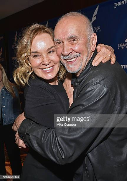 Actress Jessica Lange and Frank Langella embrace at 2016 Drama Desk Awards Nominees Reception at The New York Marriott Marquis on May 11, 2016 in New...