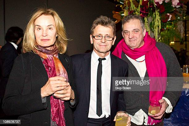 Actress Jessica Lange dancer choreographer and actor Mikhail Baryshnikov and dancer choreographer and director Mark Morris at the after party...